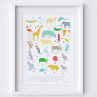 Illustrated hand drawn A to Z of Animals Art Print by UK artist Holly Francesca. All prints can come framed or unframed.