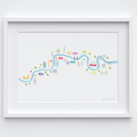 Illustrated hand drawn River Thames London from Thames Barrier to Chelsea map by UK artist Holly Francesca. All prints can come framed or unframed.