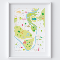 Illustrated hand drawn Map of Hampton Court and Surrounding Areas art print by artist Holly Francesca.