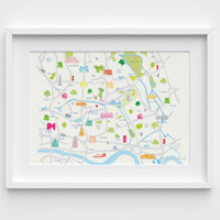 Illustrated hand drawn Map of East London (larger area) art print by artist Holly Francesca.