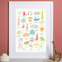 A to Z of New York City Print illustration by artist Holly Francesca.