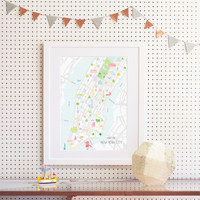 Illustrated hand drawn Map of New York City art print by artist Holly Francesca.