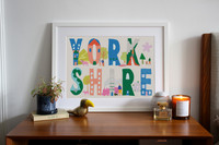 Illustrated art print with buildings and landmarks, nestled within the letters of Yorkshire.