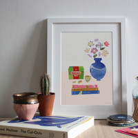 Illustrated art print showing a still life table scene with Yorkshire Tea and books related to Yorkshire.