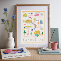 Illustrated art print showing drawings of places that make Yorkshire truly great!