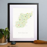 North Coast 500 Route Map Art Print