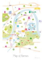 Barnes, South West London, London, Map, Iconic,River thames, art print, city, illustration