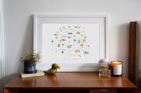 Illustrated Map of Leeds City Centre Art Print