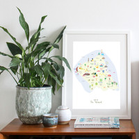 Map of the Wirral Art Print by illustrator Holly Francesca
