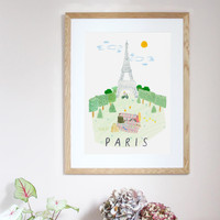 This travel poster of the Eiffel Tower, in Paris was created from an original drawing & painting by artist Holly Francesca.