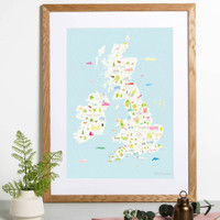 Map of the British Wonders framed art print by Holly Francesca