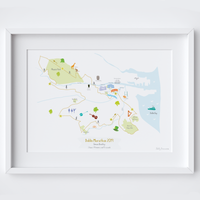 Illustrated personalised art print of the Dublin Marathon route map by artist Holly Francesca