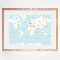 Illustrated hand drawn Map of the World art print by artist Holly Francesca.