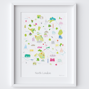 Illustrated hand drawn Map of North London art print by artist Holly Francesca.