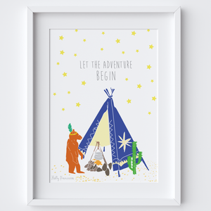 Illustrated hand drawn Tipi Bear Adventure scene art print by artist Holly Francesca.