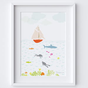 Illustrated hand drawn Under the Sea scene art print by artist Holly Francesca.