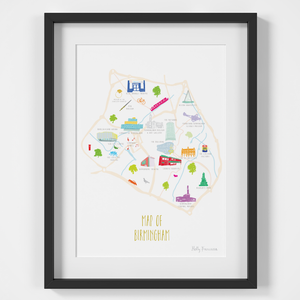 Map of Birmingham art print illustration framed by artist Holly Francesca