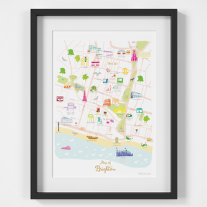 Map of Brighton art print illustration by artist Holly Francesca