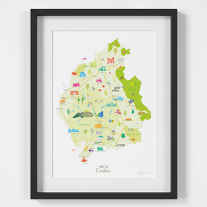Map of Cumbria in North West England framed print illustration