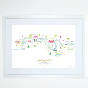 Illustrated hand drawn London Marathon Route Map art print by artist Holly Francesca.