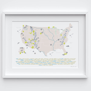 Illustrated hand drawn Map of the National Parks of the USA art print by artist Holly Francesca.
