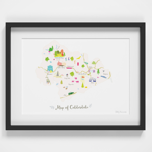 Map of Calderdale art print illustration framed by artist Holly Francesca