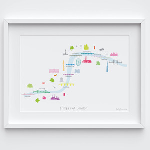 Illustrated hand drawn Map of the Bridges of London art print by artist Holly Francesca.