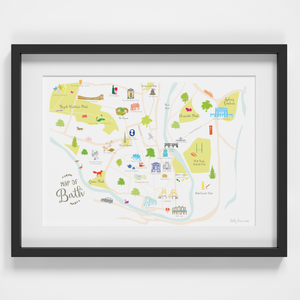 Map of Bath art print framed illustration by artist Holly Francesca