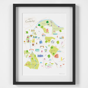 Map of Cambridge Art Print illustration framed by artist Holly Francesca