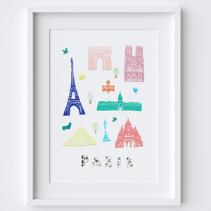 Illustrated papercut Paris landmark buildings art print by artist Holly Francesca.