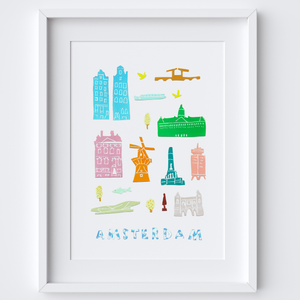 Illustrated papercut Amsterdam landmark buildings art print by artist Holly Francesca.