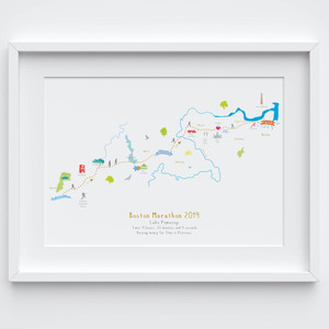 Illustrated hand drawn Boston Marathon Route Map art print by artist Holly Francesca.