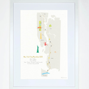 Illustrated hand drawn New York City Marathon Route Map art print by artist Holly Francesca.