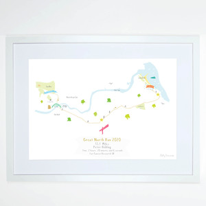 Illustrated hand drawn Great North Run Half Marathon Route Map art print by artist Holly Francesca.