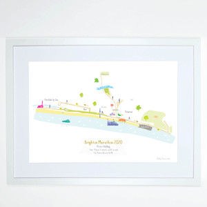 Illustrated hand drawn Brighton Marathon Route Map art print by artist Holly Francesca.