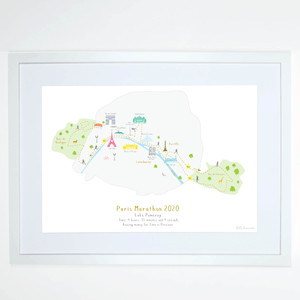 Illustrated hand drawn Paris Marathon Route Map art print by artist Holly Francesca.