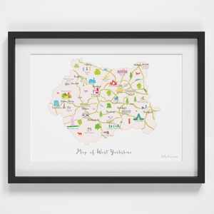Map of West Yorkshire North West England framed print illustration