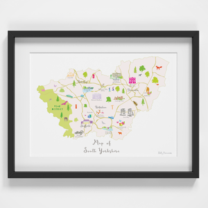 Map of South Yorkshire North England framed print illustration