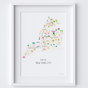 Illustrated hand drawn Map of the New York City Boroughs art print by artist Holly Francesca.