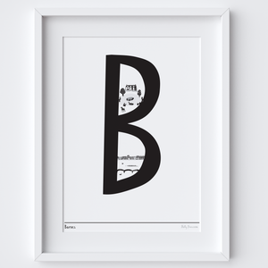 Illustrated hand drawn Barnes Letter art print by artist Holly Francesca.