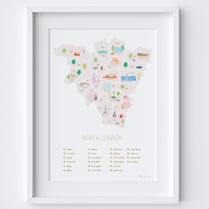 Illustrated hand drawn Map of North London Postcodes art print by artist Holly Francesca.