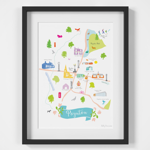 Map of Poynton (Cheshire) Art Print illustration framed by artist Holly Francesca