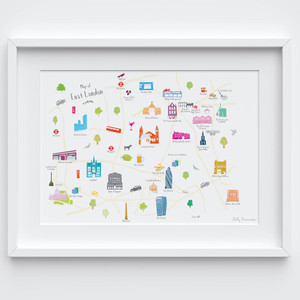 Illustrated hand drawn Map of East London art print by artist Holly Francesca.