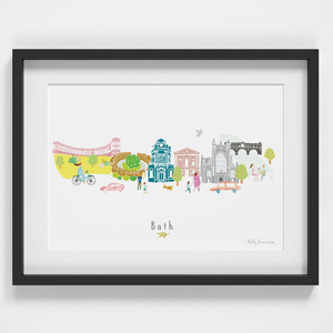 Illustrated hand drawn Bath Skyline Cityscape art print by artist Holly Francesca.