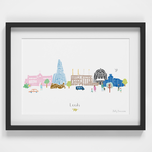 Illustrated hand drawn Leeds Skyline Cityscape art print by artist Holly Francesca.