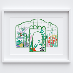 Illustrated hand drawn and painted Green botanical glasshouse art print by artist Holly Francesca.