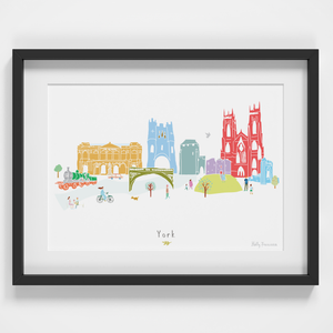 Illustrated hand drawn York Skyline Cityscape art print by artist Holly Francesca.