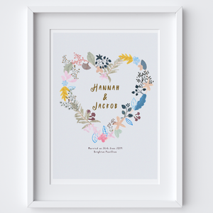 Personalised Floral Love Wedding Heart Art Print