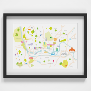 Map of Bristol Art Print illustration framed by artist Holly Francesca