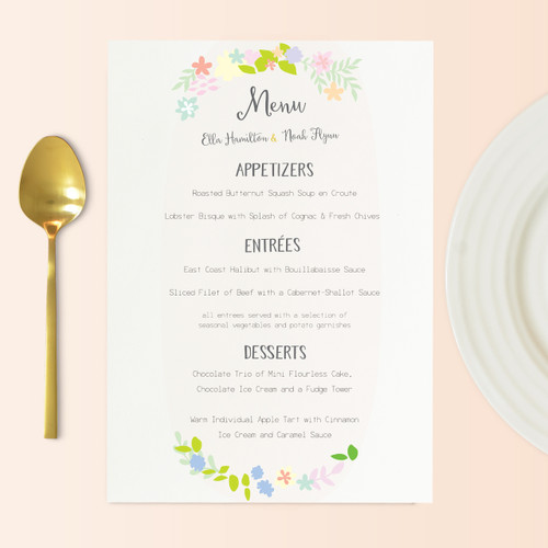 Wreath Wedding Menu